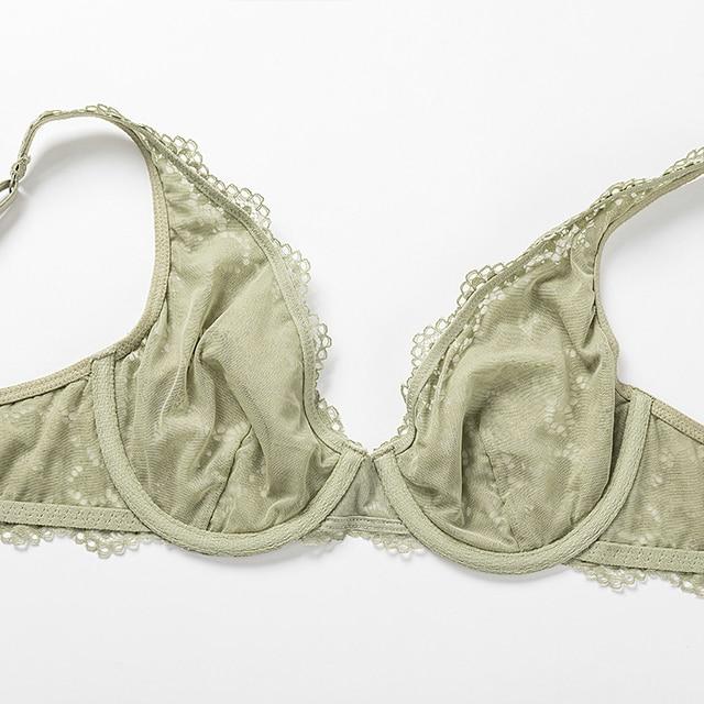 DOBREVA Women's Unlined Plunge Bralette Sexy Underwear Lingerie For Women Lace Underwire Bra 6