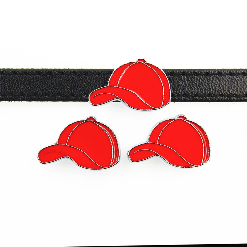 Official Website 8mm Red Baseball Cap Hat Slide Charms Flat Hole Enamel Beads Keeper Fit 8mm Stainless Steel Mesh Bracelets Diy Jewelry Making