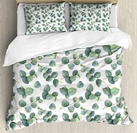 Leaf Duvet Cover Set, Watercolor Style Pattern with Silver Dollar Eucalyptus Leaves and Branches, 4 Piece Bedding Set