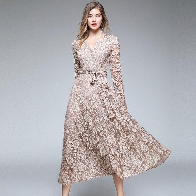Autumn Women Long Sleeves Maxi Dress Vetement Femme 2021 Fall V-Neck Long Party Lace Dress Vestidos Longos K3509 2