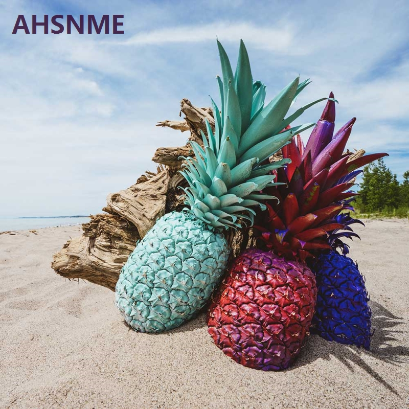 AHSME Colored Pineapple On Blue Sky White Sand Beach Bedding Set High Definition Print Quilt Cover For RU AU EU US Size Markets In Sets From Home