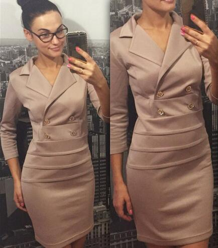 2016 Women New Double Breasted Suit Collar Dress Wind Uniform Autumn