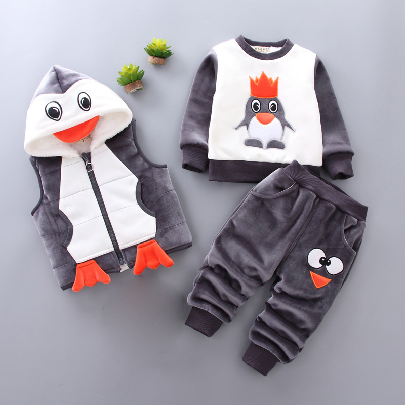 Cartoon Animal Autumn Winter Kids Clothes Sets Unisex Baby Set 3pcs Hoodies+Outwear Coat+Pants Toddler Boys Girls Outfit Suits boys clothing set despicable me cotton minion clothing sets unisex sport suit 3pcs coat t shirt pants baby boys girls clothes