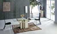 White Travertine Dining Table With Glass Table Set Natural Stone Marble Dining Furniture Rectangle Table NB