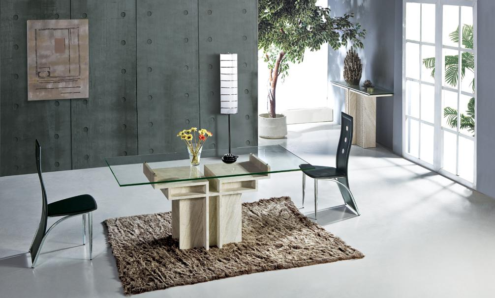 blanco travertino mesa de comedor con mesa de juego de mesa de cristal de piedra natural