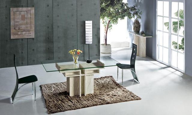 Wit travertijn eettafel met glas tafel set natuursteen marmer