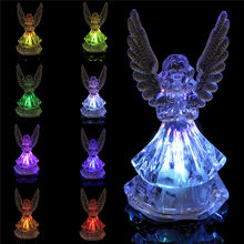 Acrylic Clear LED Night Light Multicolor Changing Angel LED Lamp Home Bedroom Cafes Bar Romantic Table Lights With AG10 Battery(China)