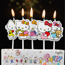 5pcs/lot Hello Kitty Party Supplies Kids Birthday Candles Evening Party Decorations Set Birthday Wedding Party Cake Candles