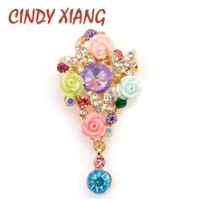 CINDY XIANG New Arrival Colorful Beautiful Resin Flower Brooches for Women Wedding Garden Style Brooch Pin Summer Fashion Gift