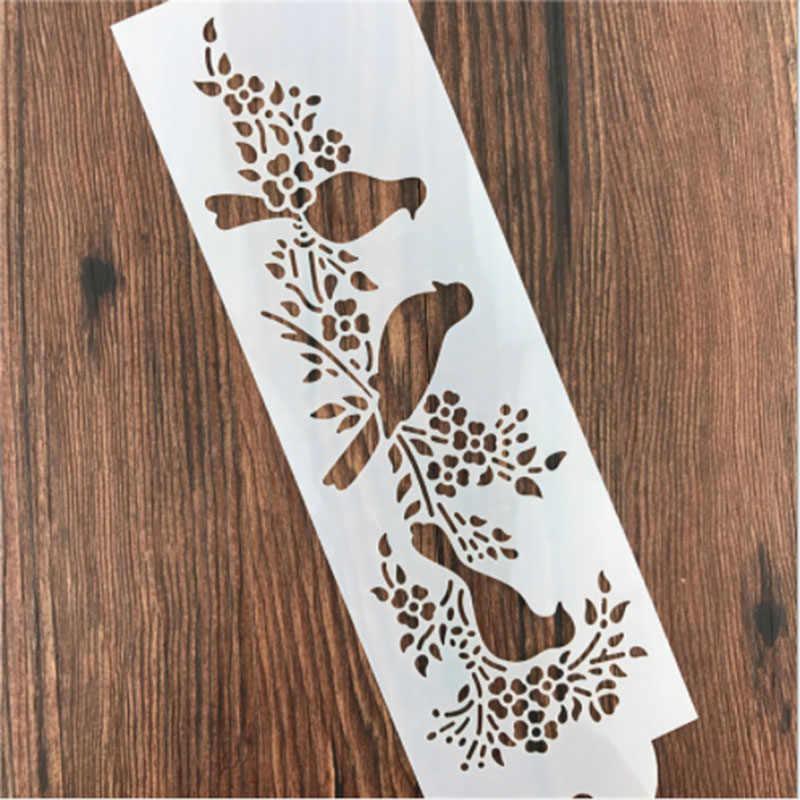1PC カササギ鳥枝に型再利用可能なステンシルエアブラシ塗装アート DIY 家の装飾スクラップブッキングアルバム工芸品
