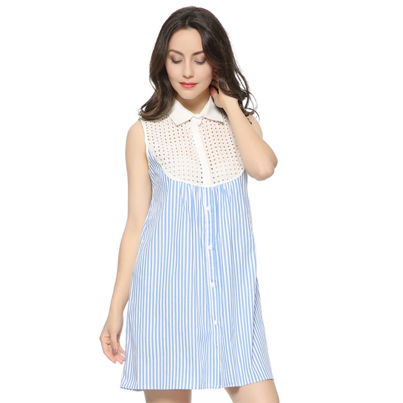snowshine YLI Women Dress Strippy Print Lace Hollow Casual Loose Sleeveless Shirt Dress free shipping