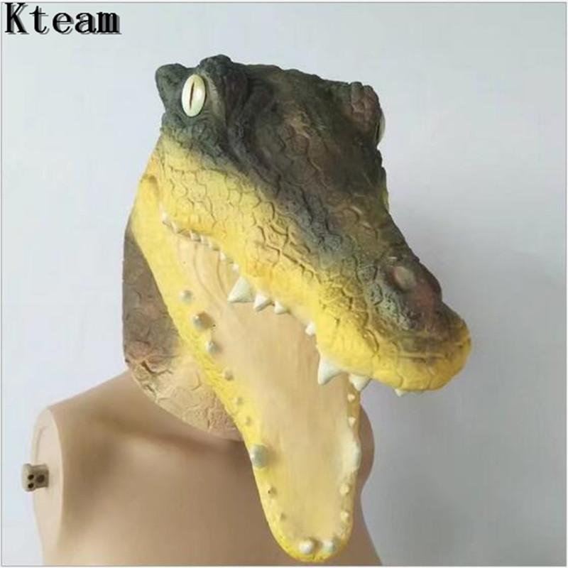Crocodile Overhead Rubber Mask Fancy Dress Costume Outfit Prop Crocodiles Head