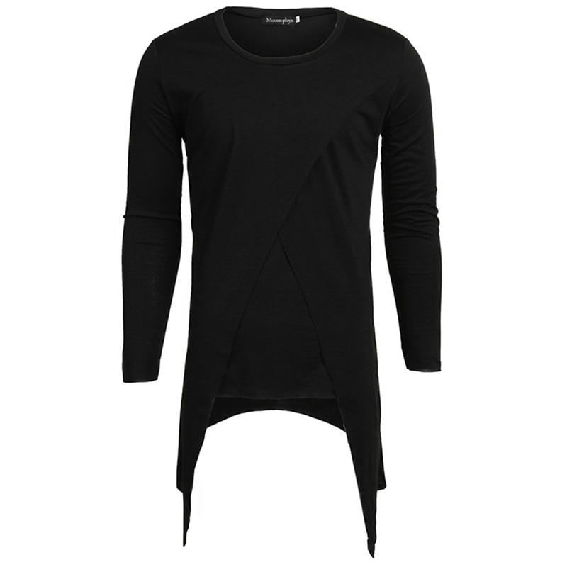Moomphya 2018 Men Super Stylish Cross Layered Swallow Tail Long Tee Men long sleeve t-shirt Longline hem tshirt streetwear 2