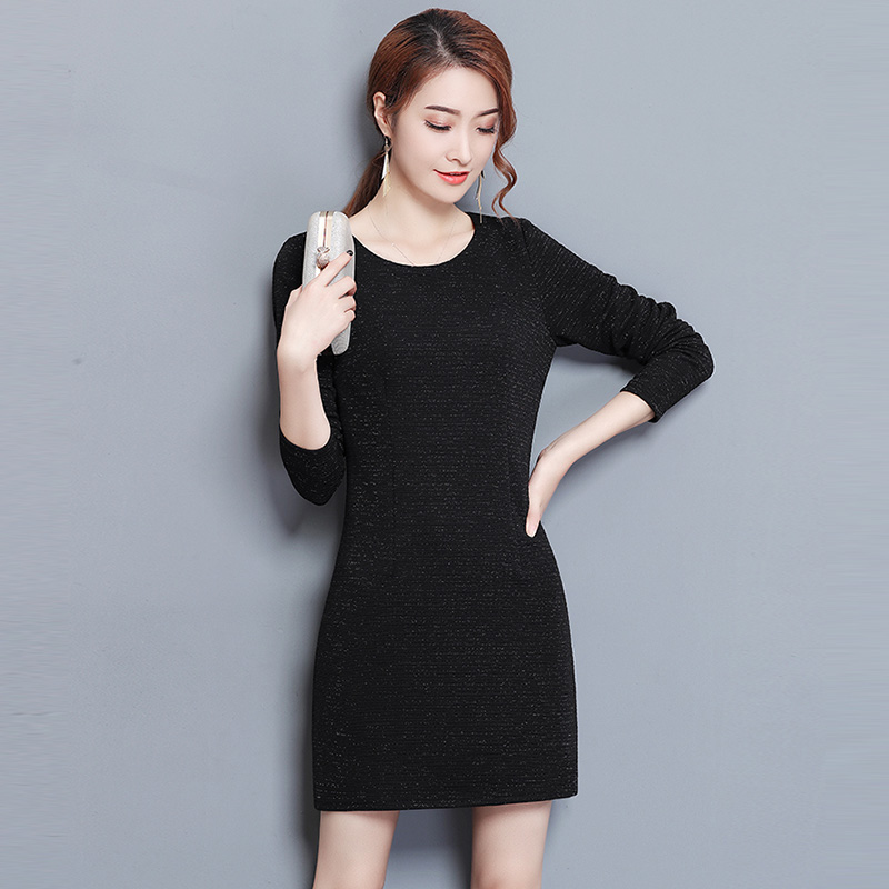 Winter Thick Knit Dresses Plus Size 3XL Long Sleeve O-neck Warm Dress Spring Slim Fashion Black Knitted Dresses RE0307