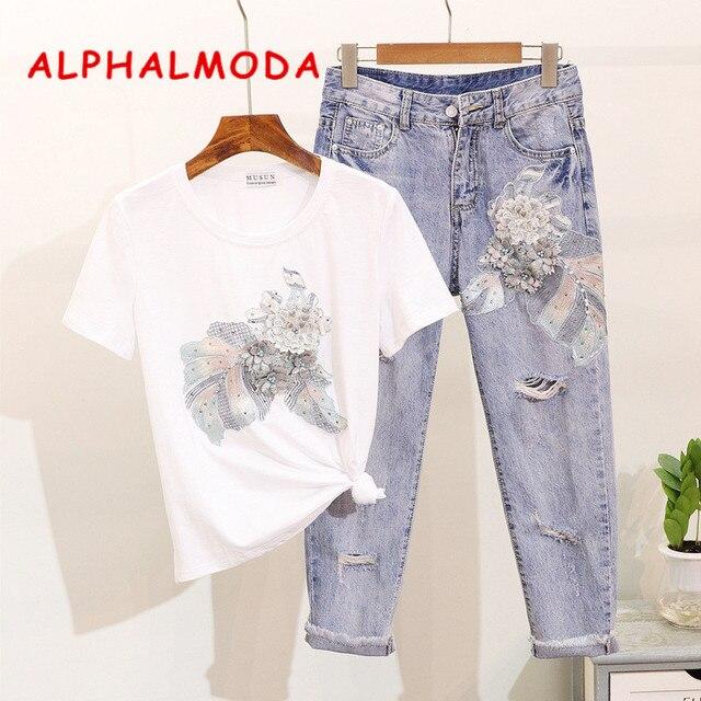 ALPHALMODA Embroidery Vintage Flowers Beaded Tshirt Ripped Holes Pencil Fashion Jeans Ladies Summer Trendy Fashion Clothing