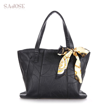 Women Bags PU Leather Fashion Handbags Women's Shoulder Messenger Tote Bags Autumn and Winter Scarf Black High Capacity SAJOSE