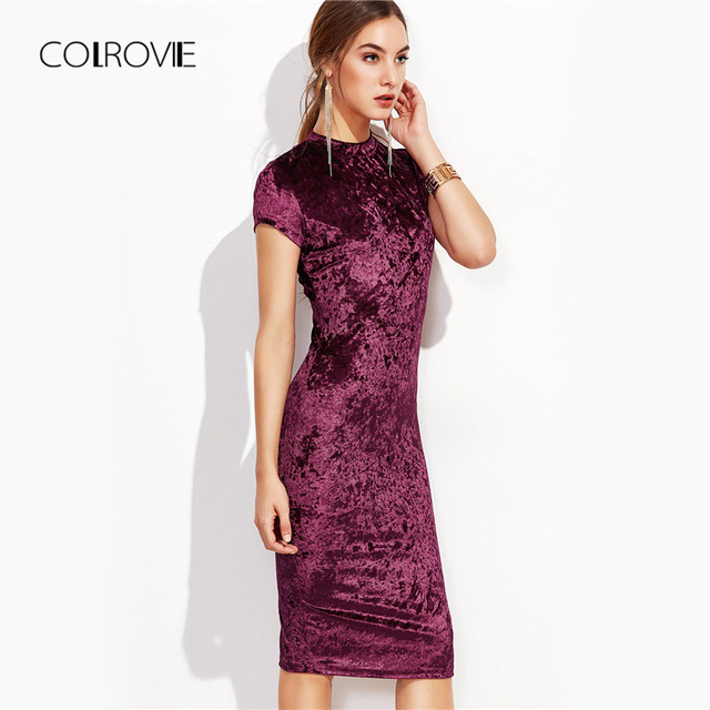 9dd7aa64ce COLROVIE Burgundy Velvet Bodycon Midi Dress Autumn Women Elegant Ladies  Office Dresses Mock Neck Cap Sleeve