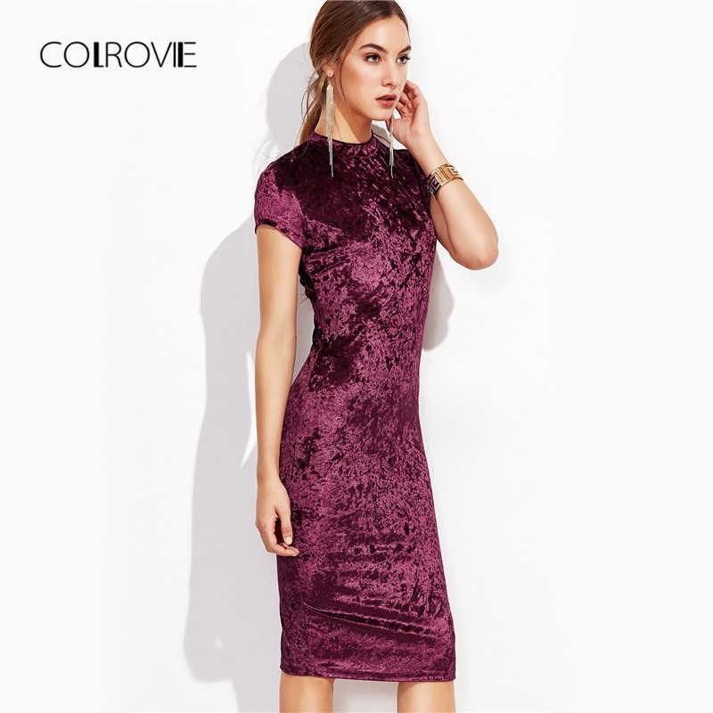 4f64c55fab207 COLROVIE Burgundy Velvet Bodycon Midi Dress Autumn Women Elegant Ladies  Office Dresses Mock Neck Cap Sleeve Velvet Pencil Dress