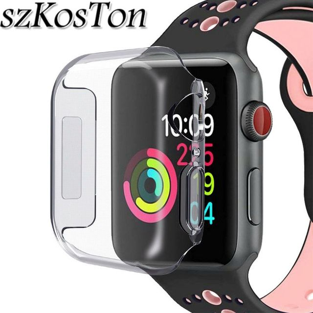quality design 13e3c ccce7 US $1.81 19% OFF|For Apple Watch Series 4 40mm 44mm Case Cover Ultra thin  Silicone Soft TPU Full Protective Case for i Watch Apple Watch 4-in Smart  ...