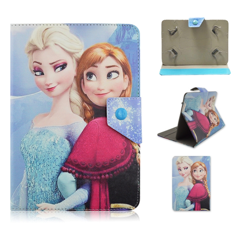 Universal 7 inch Anna Elsa Zootopia Crazy animal City Cartoon PU Leather Stand Cover Case For 7 Tablet P3100 T110 T230 universal 61 key bluetooth keyboard w pu leather case for 7 8 tablet pc black