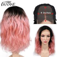Ombre Pink 4*4 Lace Closure Human Hair Wigs for African American Women Brazilian Remy T1B/Pink Natural Wave Glueless Wigs HANNE