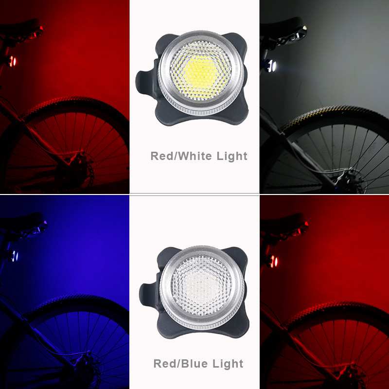 Bicycle Rear Light Dual Double Colors In 1 Lamp USB Rechargeable COB LED Bike Tail Safety Warning Lantern Red White Or Red Blue