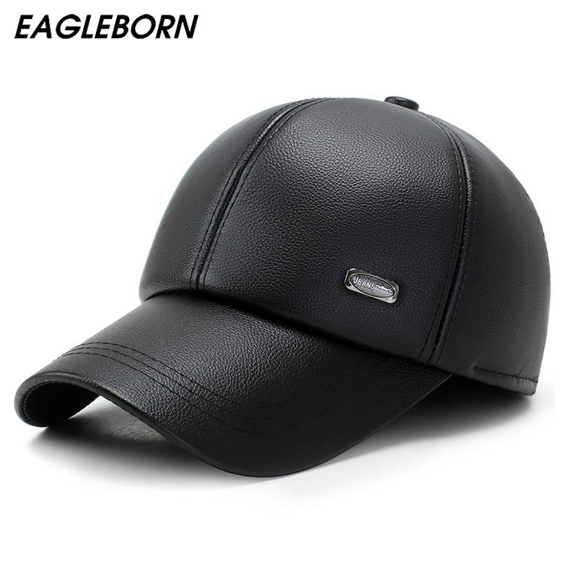 4392a7c4081 New Men Baseball Cap Women PU Snapback Caps Earflaps Casquette Brand  Adjustable Bone PU Hats For