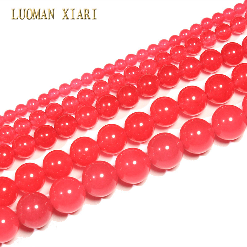 Red Natural White Stone Dyed Color Round Loose Stone Beads For Jewelry Making Diy Bracelet Necklace 4/6/8/10/12 Mm Strand 15 Jewelry & Accessories