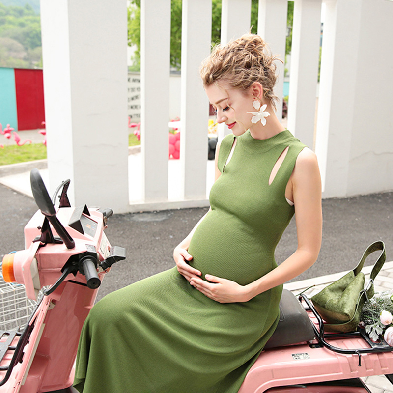 SMDPPWDBB Maternity Dresses Sheath O-neck Knitted Cotton Pregancy Dress Summer Pregnancy Clothing Female Maternity Clothes