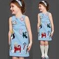 Девушки платье девочку одежда каракули шаблон хлопка девочек платья 2015 дизайнер платье принцессы детская одежда 2-10Y
