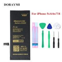 Doraymi 리튬 배터리 애플 아이폰 5 s 6 6s 7 8 플러스 6g 7g 8g x 휴대 전화 배터리 교체 iphone6 iphone6s bateria