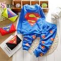 Baby boy hero superman traje de ocio juego de los niños de los bebés de dibujos animados de manga larga t-shirt + pants set envío libre