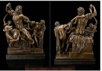 Art Deco Sculpture The Laocoon And His Sons Nude Man With Snake Bronze Statue
