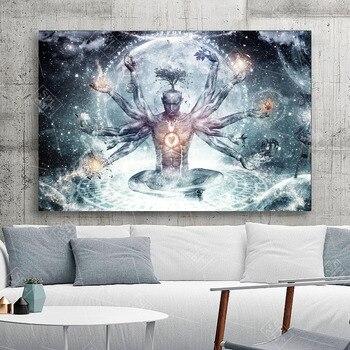מדיטציה רוחנית פנטזיה פוסטר Hd הדפסת בד ציור בודהה זן קיר אמנות קישוט תמונה לסלון לא ממוסגר