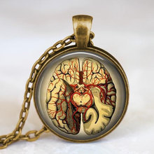 2017 new hot Steampunk Jewelry Anatomical brain necklace pendant Gothic necklace science pendant biology medical student gift