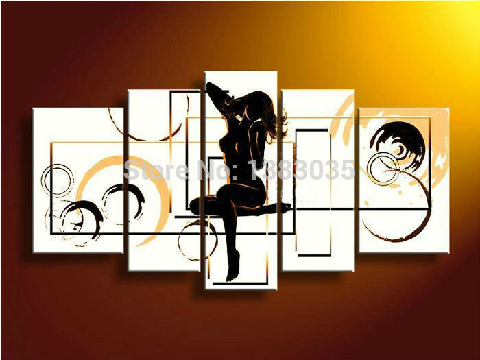 Hand Painted Naked Girl Oil Painting Modern Abstract Picture 5 Piece Wall Art Set -7682