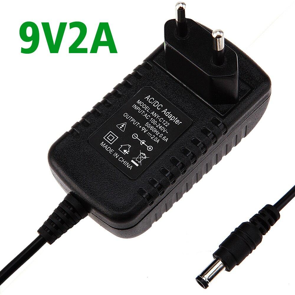 1PCS 9V2A AC 100V-240V Converter Adapter DC 9V 2A 2000mA Power Supply EU Plug 5.5mm x 2.1-2.5mm Free shipping