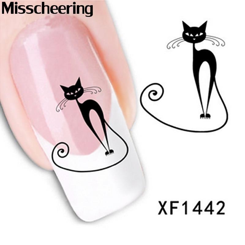 1sheet Cute Black Cat Nail Sticker Art Water Transfer Slide Decals DIY Nail Decoration 1sheet 6pcs 3d nail art sticker golden stripe heart houndstooth patterned 1sheet