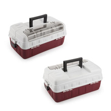 2PCS Large 3 Tray And the bottom divided into small lattice Top Access Tackle Box Big