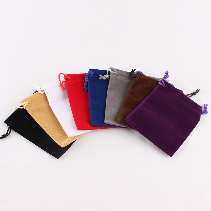 10pcs/lot 8*10 Cm Custom Logo Printed Drawstring Bag Velvet  Pouch