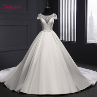 TaooZor Vintage A Line Satin Ivory Wedding Dress Appliques Lace Beading Perals Bridal Gowns Plus Size