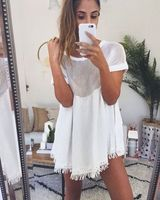 2016 Summer Dresses Women Sexy Hollow Out Lace Casual Loose Dress Tassel Vintage Harajuku Elegant Sexy
