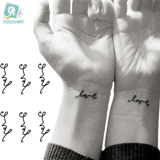 Rocooart HC1068 Водонепроницаемый татуировки Harajuku с надписью «Love» узор Дизайн переноса воды временные Tatto Стикеры Для женщин Сексуальная татуировки