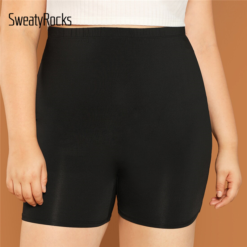 SweatyRocks Plus Solid Skinny Shorts Women Active Wear Shorts Womens 2019 Casual Summer Athleisure Basics Shorts