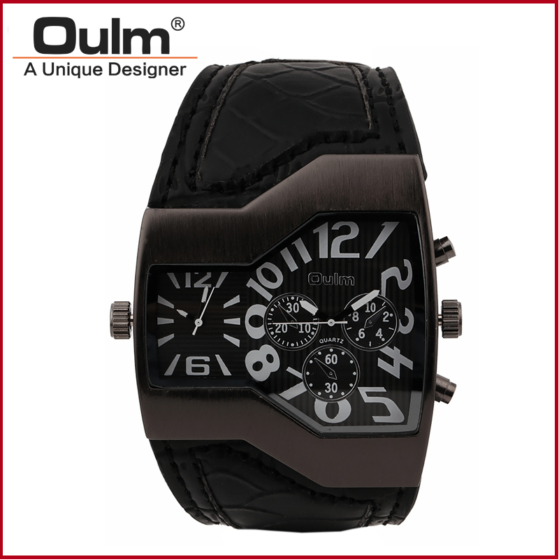 2018 Multiple Two time zone men business dress leather strap japan quartz movt oulm 1220 wrist military watch Fashion watch
