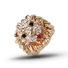 New Excellent Quality women Rings pure Gold color Alloy Rhinestone Stud Lion Head Fashion Ring J00002