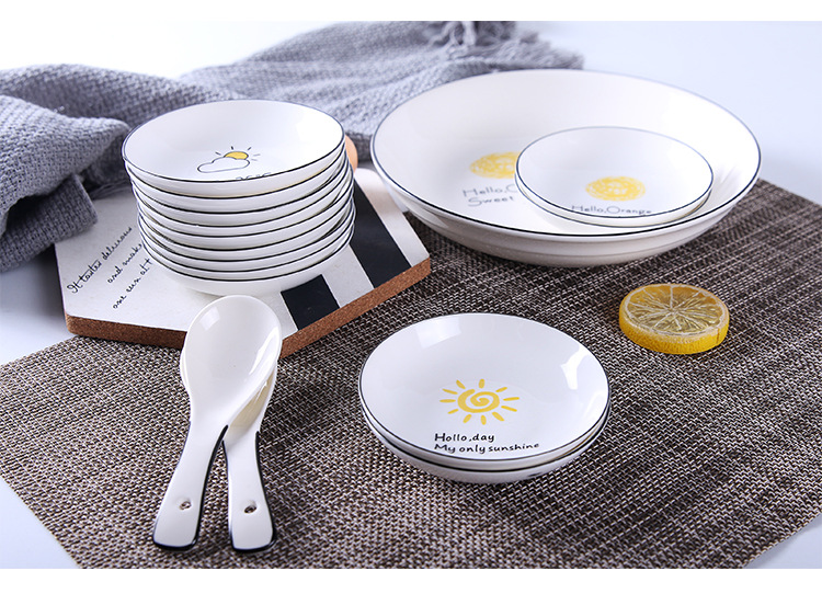 Creative Cartoon Cute Small Sauce Dish Black Line Mini Ceramic Household Tableware Home Kitchen Supplies in Dishes Plates from Home Garden