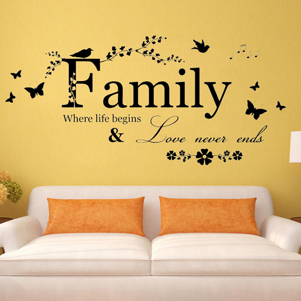 Family where life begin wall stickerliving room decoration wall say quote word lettering vinyl