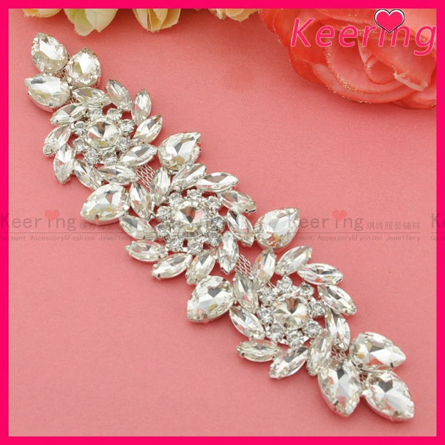 Rapture New Arrival19.3x5.4cm Shiny Silver Crystal Rhinestone Applique Clear Wedding Motif For Bridal Gown Sash Wre-098 Apparel Sewing & Fabric