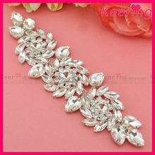 New Arrival19.3×5.4cm Shiny Silver Crystal Rhinestone Applique Clear Wedding Motif for Bridal Gown Sash WRE-098